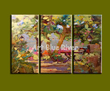 3 panel Knife paint abstract handpainted wall art Garden oil painting on canvas for living room wall picture Kitchen decoration