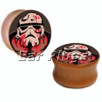 1 pair bloody stormtrooper wood saddle plug gauges ear plugs flesh tunnel body piercing jewelryWSP014