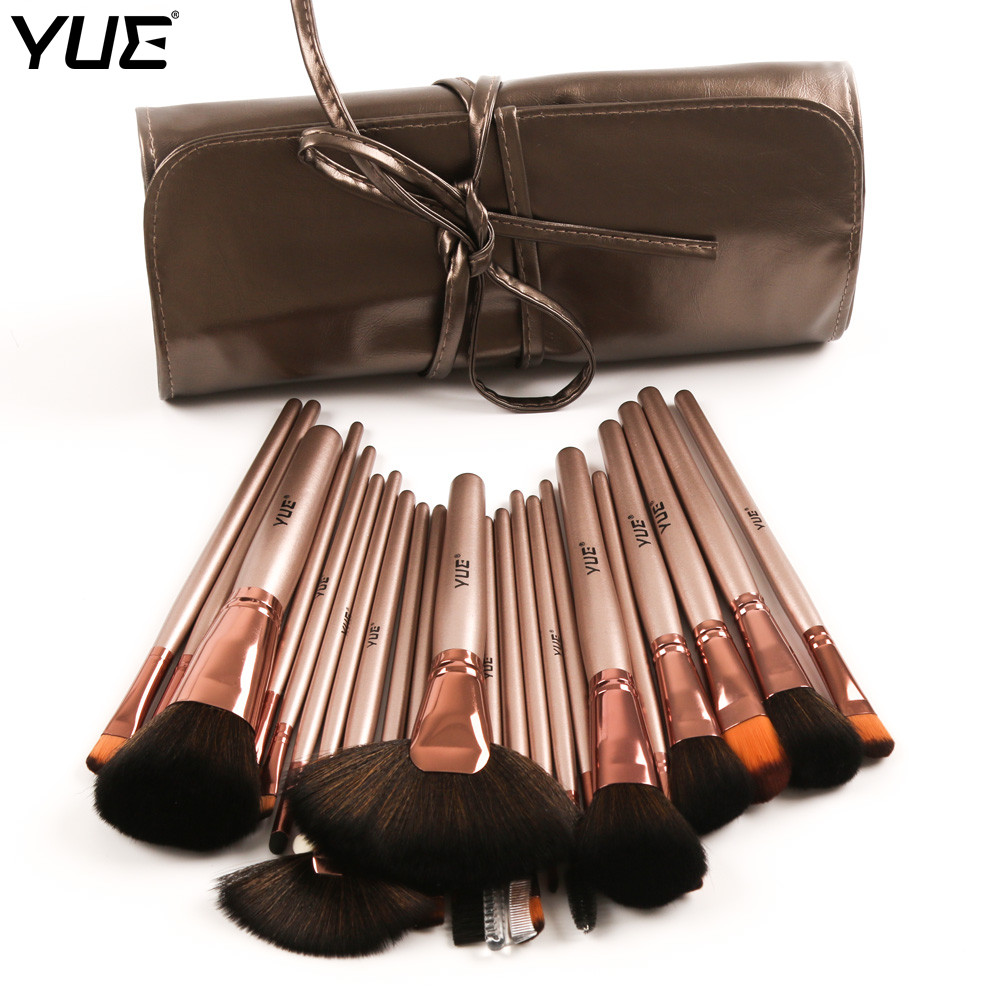 YUE Brand 24pcs Makeup Brushes Professional Cosmetic Brush Powder Blush Fan Foundation Eye shadow With PU Bag 8pcs rose gold makeup brushes eye shadow powder blush foundation brush 2pc sponge puff make up brushes pincel maquiagem cosmetic