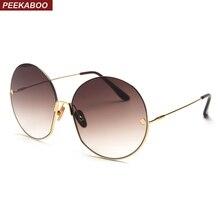 Peekaboo nuevas gafas de sol redondas retro para mujer 2019 montura de  metal gafas de sol de gran tamaño para mujeres diseñador . 81336bd6faf1