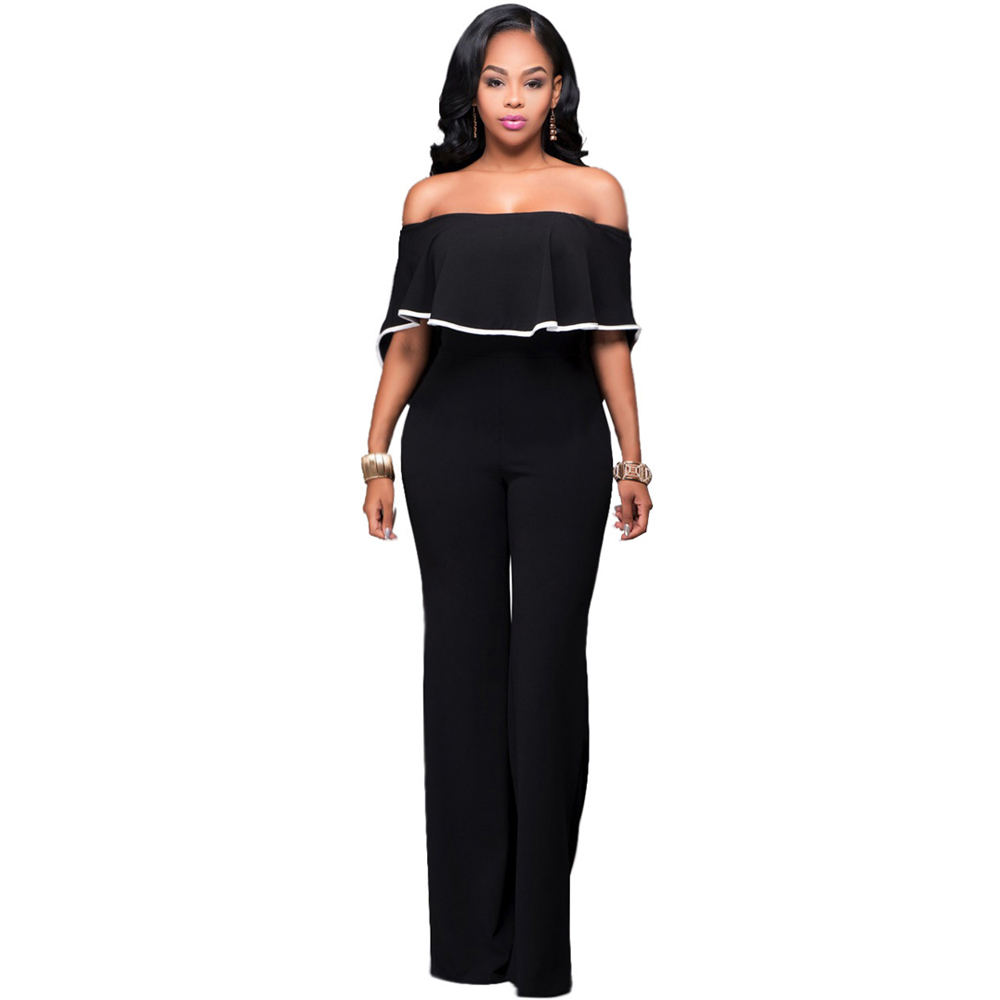 Casual Loose Women Sexy Autumn Slash Neck Long Overalls Sexy Elegant Black Jumpsuits Rompers Bodysuits Female Playsuit Catsuit