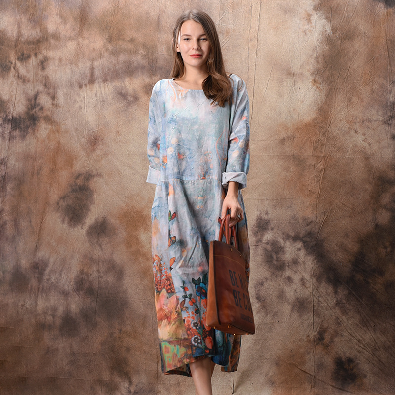 Johnature Women Floral Dress Vintage Cotton Linen High Quality 2019 Spring Long Sleeve O neck Chinese