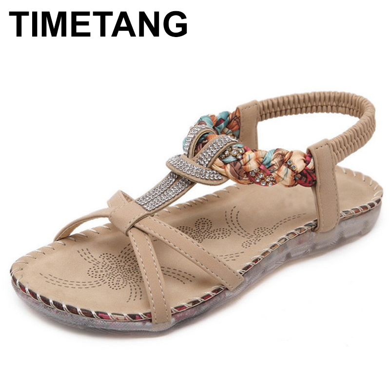 TIMETANG New National Style Women Sandals Bohemia Flats Sandals Size Foreign Trade Shoes Summer Shoes Women Shoes C071