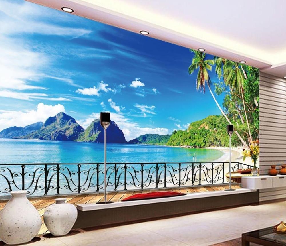 Beach balcony tv backdrop scenery 3d room wallpaper for Beach wall mural cheap