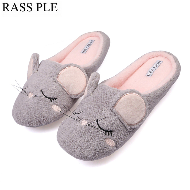 RASS PLE Cute Animal Women Slippers Indoor Home Floor Cartoon Slippers Winter Warm Shoes Ladies Animaux Pantufas For Bedroom