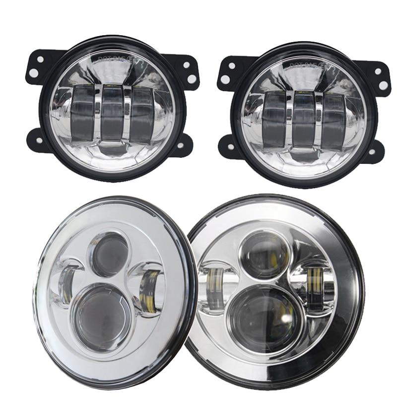 TNOOG chrome 2x 7 inch round 45w led headlamp + 2x 4 inch 30w led fog light for JEEP Wrangler led headlight kit