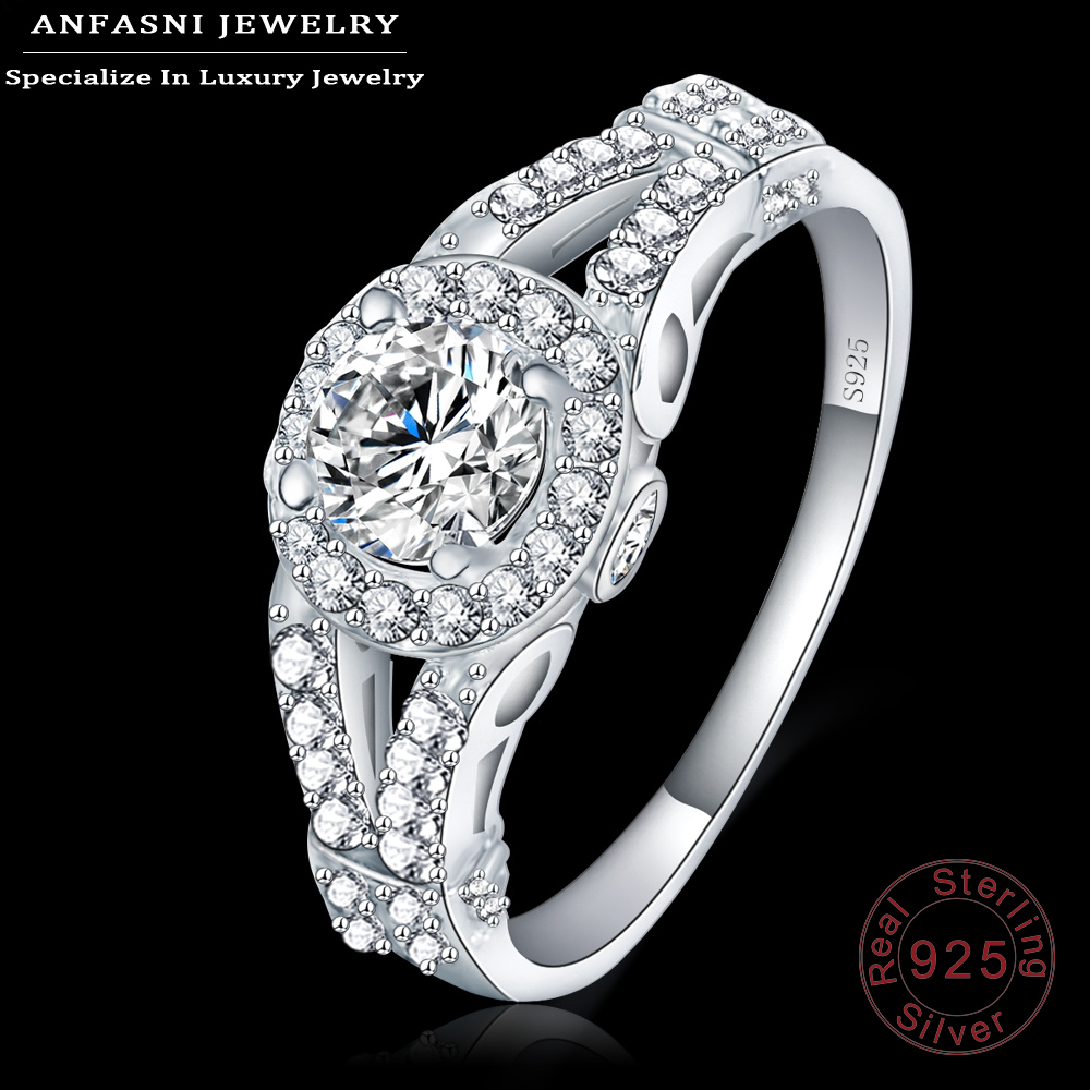 ANFASNI Unique Design Finger Rings 100% 925 Sterling Silver Jewelry Fashion Anel For Ladies Wedding Bague SRI0013-B