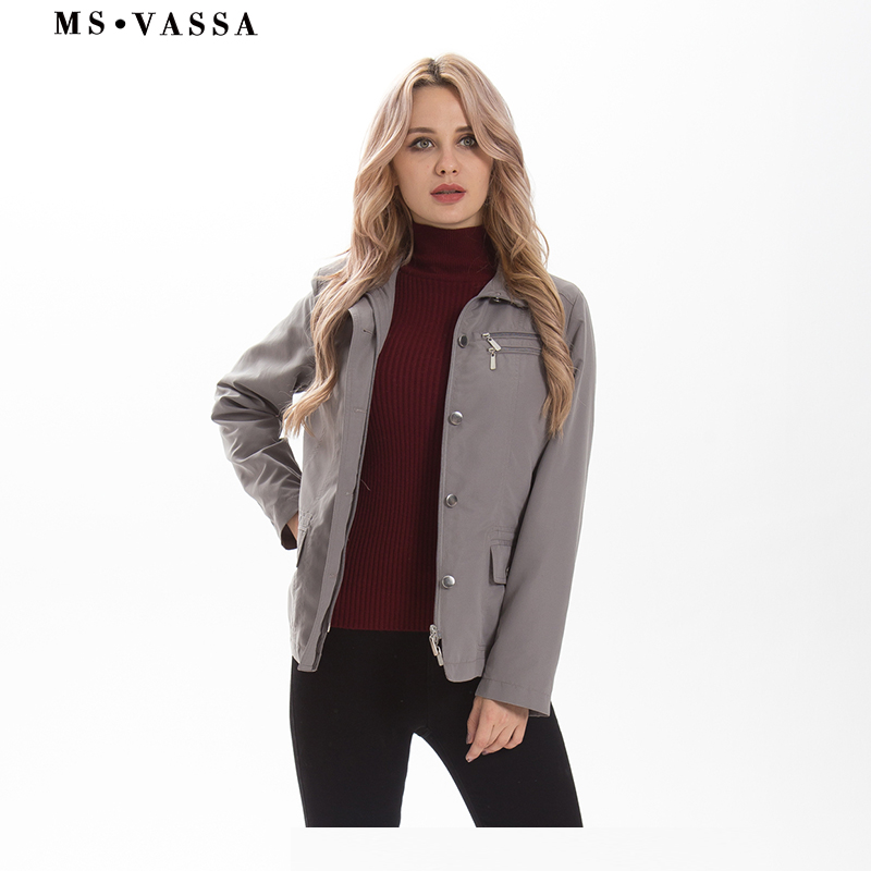MS VASSA Ladies   Trench   coats 2019 New Spring Women Windbreaker fashion turn-down collar solid color coats plus size outerwear