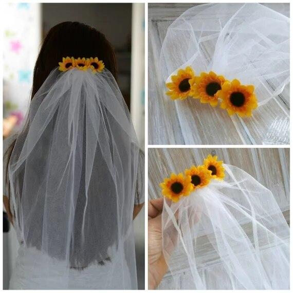 Bachelorette Veil Bridal Shower Veil Sunflower Party Accessory Headband Veil Sunflower Bride Party Rustic Sunflower Wedding