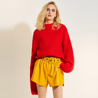 Young17 Autumn Sweater Women 2017 Red Plain Pullover Casual Slim Knitted Knitwear Fall Sweater Female Pullover