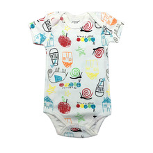 Tender Babies 2018 new fashion short-sleeved cotton jumpsuit male baby and girl suit print pattern romper