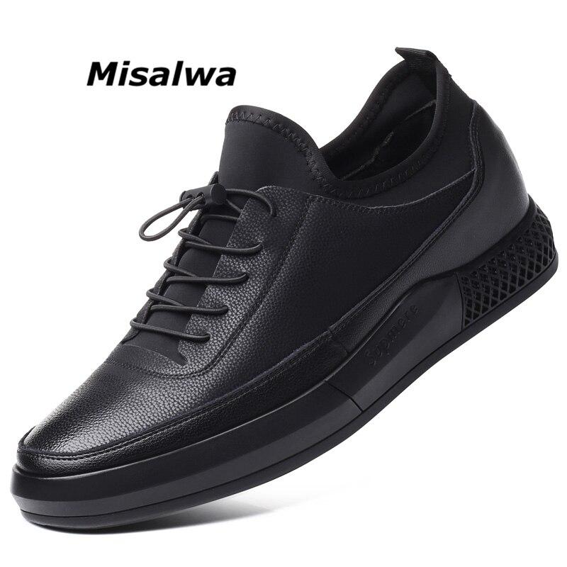 Misalwa 5 CM Hauteur Augmenter En Cuir Casual Hommes Sneakers Hommes Ascenseur Chaussures Semelle Épaisse Jeunes Hommes Quotidienne Chaussures Printemps/ automne