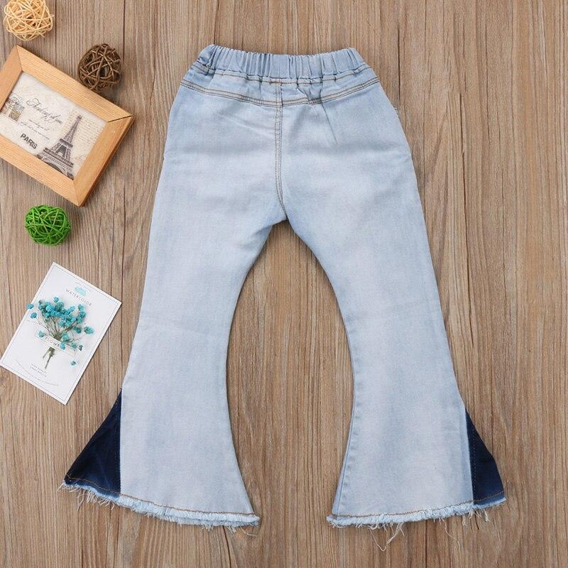 Fashion Toddler Kids Baby Girls Bell-Bottoms Pants Denim Wide Leg Jeans Trousers