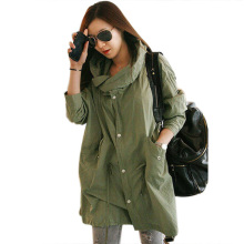 Casual Women Back Skull Army Green Jacket Loose Hooded Coat Outwear