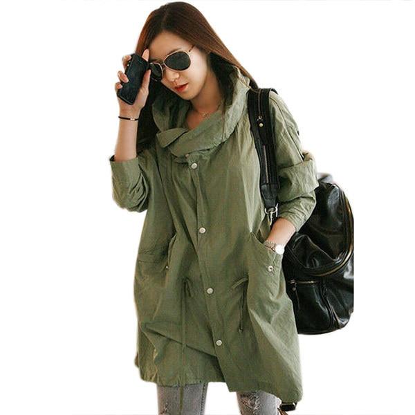 Casual Women Back Skull Army Green Jacket Loose Hooded Coat Outwear