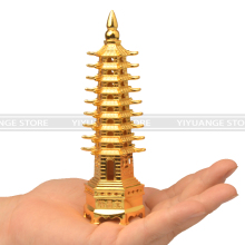 feng shui Metal 3D Model China Wenchang Pagoda Tower Crafts Statue Souvenir Home Decoration metal handicraft 13cm