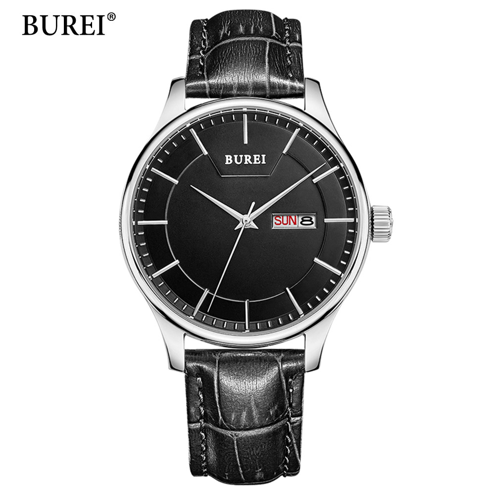2017 Real BUREI Men Watch Day And Date Display Male Clock New Big Dial White Lens Black Leather Strap Quartz Wristwatch Hot Sale robin morgan morgan the word of a woman feminist dispatches 1968 – 1992