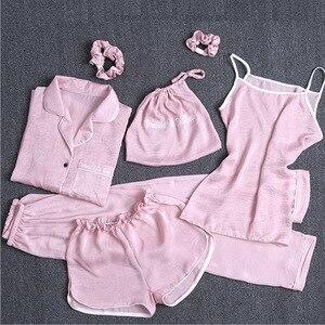 Image 3 - ZOOLIM 2018 Autumn Winter Pink 7 Pieces Elegant Women Pajamas Sets with Pants Long Sleeve Pyjama Silk Elastic Waist Pijama