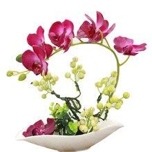 1 set 4 colors Flower +Vase Artificial Orchid Silk Cloth Simulation Flower Arrangement Well Bonsai Plant with Ceramic Flower Pot