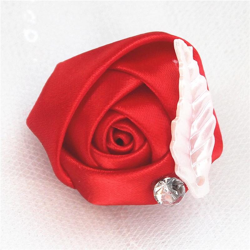 Cheap Handmade Diamond Feather Groom Bride Wedding Dress Corsage