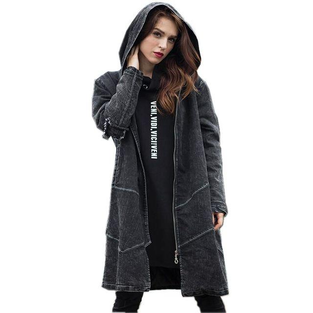 Последние осень/зима женская мода джинсовая куртка Высокого качества с капюшоном средней длины пальто с длинным рукавом свободные плюс размер одежда NZ416