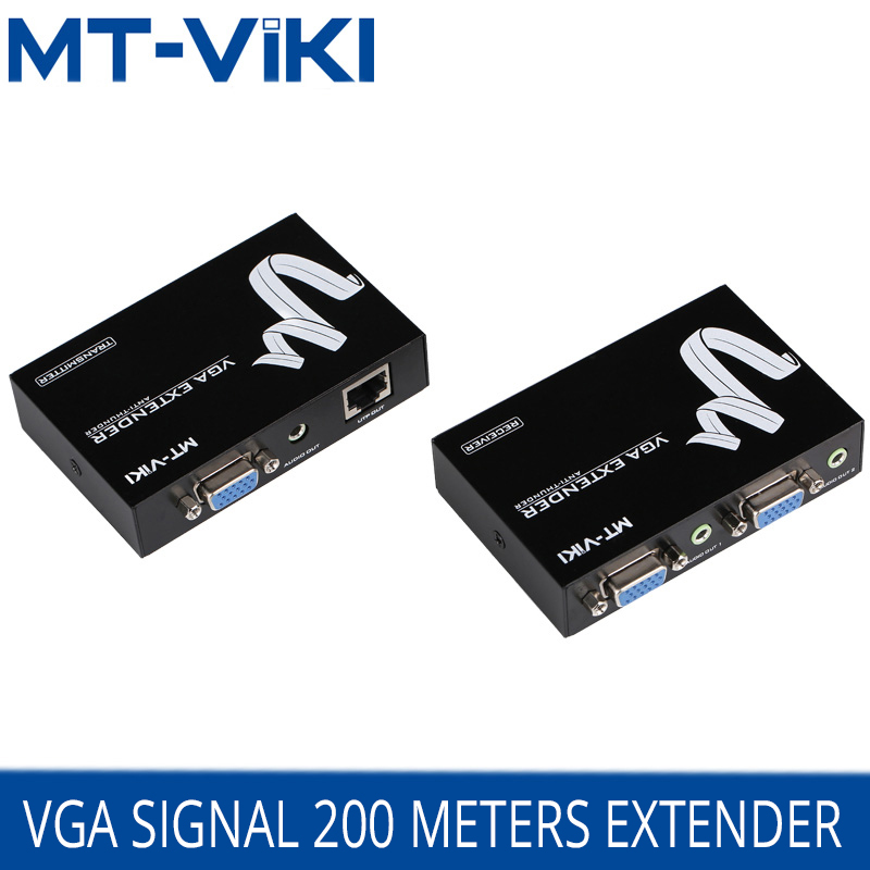 MT-Viki VGA Extender 200m VGA Video 3.5mm Audio Repeater Extender over UTP by RJ45 CAT 5e / 6 LAN Cable Adapter MT-200T metal 6 ton scissor jack stand height adjustable for 1 10 rc rc4wd d90 scx10 tamiya cc01 crawler car part
