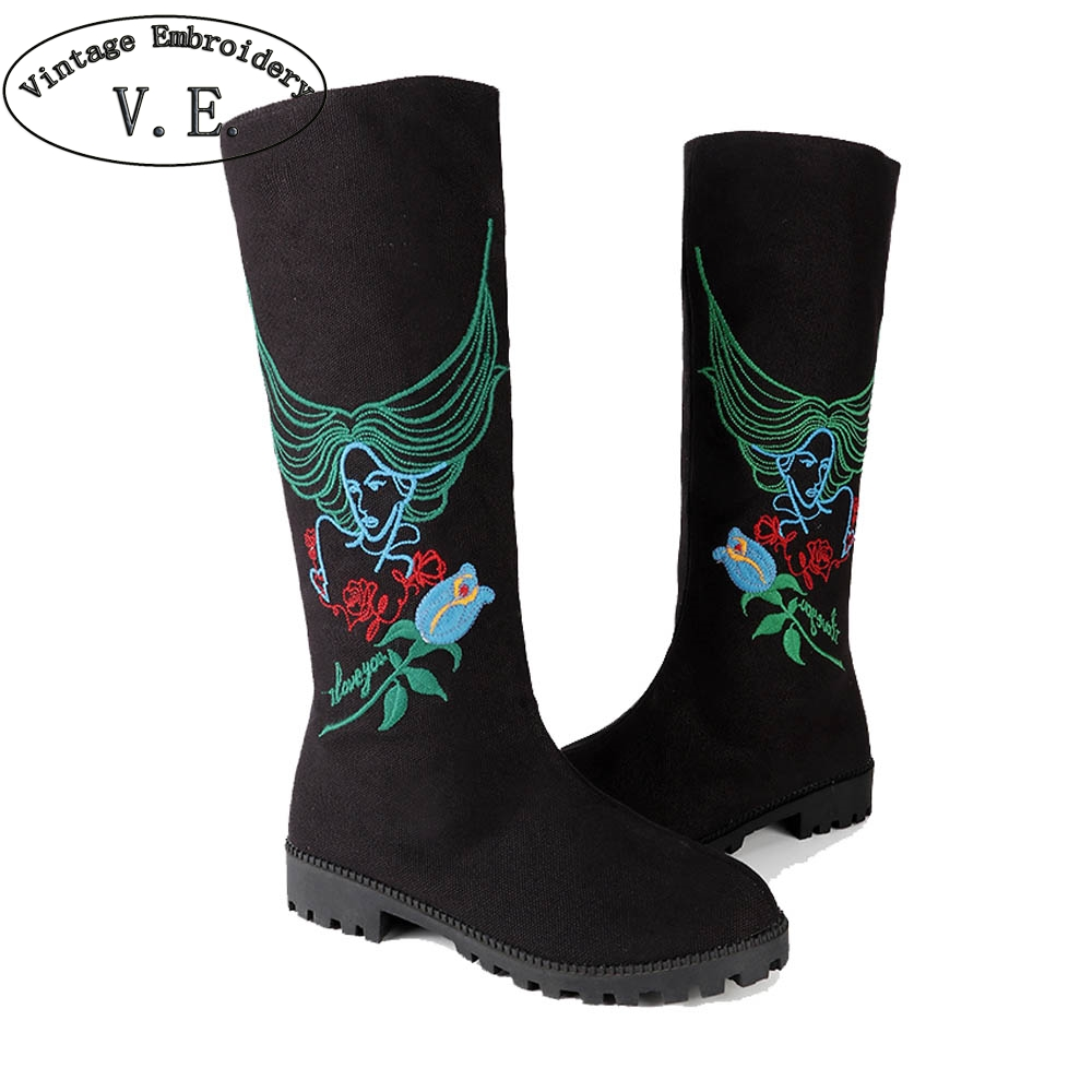 Vintage Embroidery Fashion Women Winter Boots Ladies Casual Canvas Flats Ethnic Style Embroidered Knee High Boots Bota Feminina ethnic style v neck embroidered button design women s dress