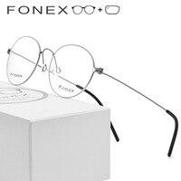 B Pure Titanium Prescription Glasses Women Ultralight Eye Eyeglasses Men New Korean Myopia Optical Frame Screwless Eyewear 7510
