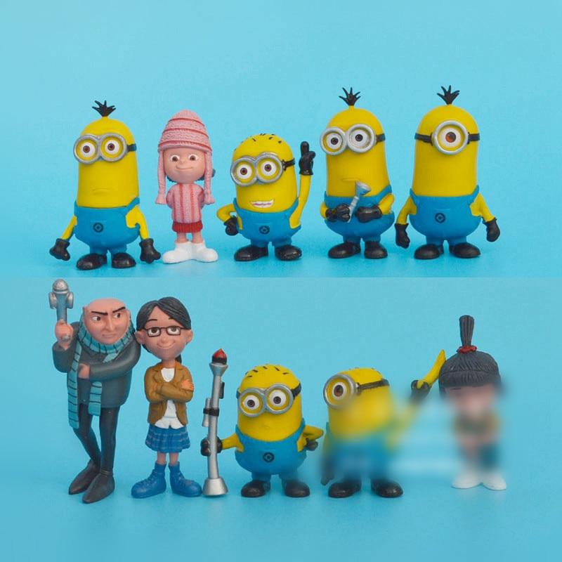 10pcs/lot Hot 5-8cm Mini cartoon character Yellow Minion Toys Kids Cute Dolls kids Movie Figures Minions Doll Puppets Model Gift
