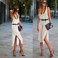 Fashion women's clothing Sleeveless Vest Chiffon Dress Reveal Back Sexy Suit-dress Long Fund Vent  Woman #1136