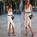 Roupas das mulheres da moda colete sem mangas chiffon dress revelar volta sexy terno-dress longo fundo ventilação woman #1136
