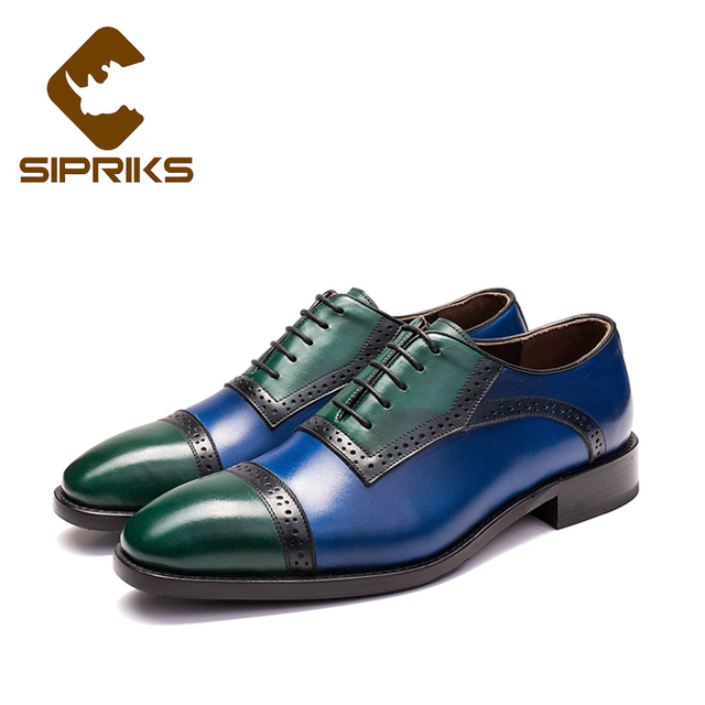 5fdf4c908 Sipriks Two Tone Shoes Men Dress Shoes Italian Handmade Goodyear Welted  Shoes Blue Green Leather Formal Tuxedo Shoes Oxfords New