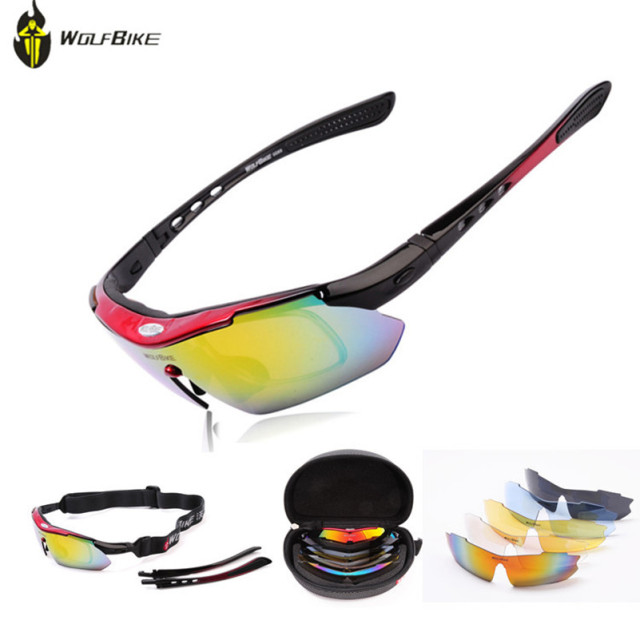 WOLFBIKE Polarized Cycling Glasses Sports Bicycle Glasses Cycling Eyewear Driving Racing Goggles Eyewear  5 Lens Cycling Glasses