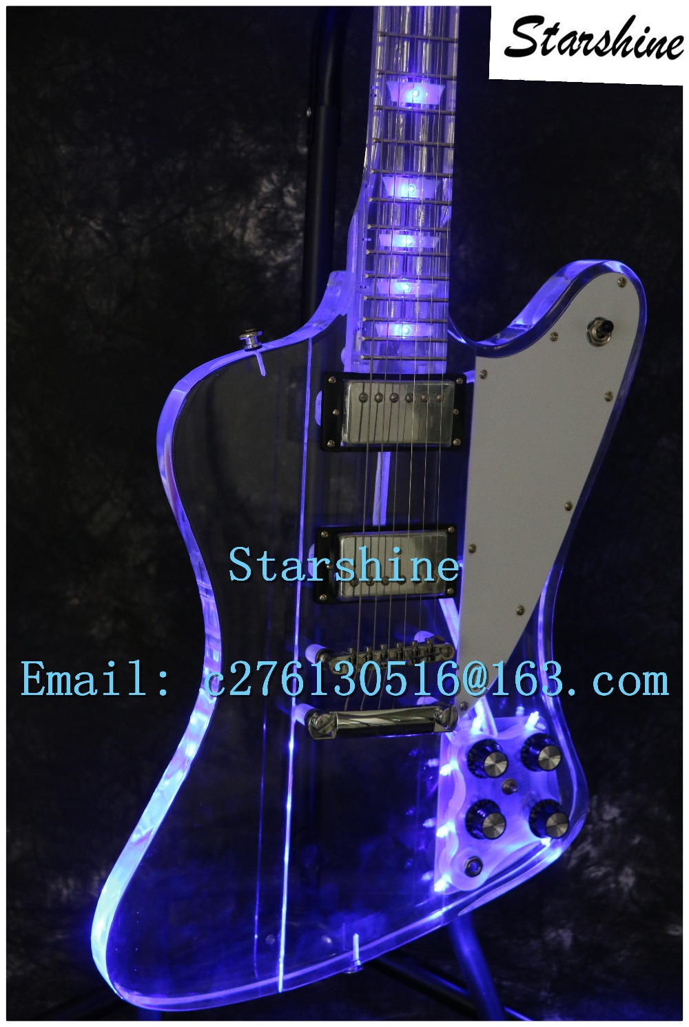 Instock Starshine SR-LBC-034 colorful crystal SR- firebird electric guitar led light body and neck full acrylic body and neck