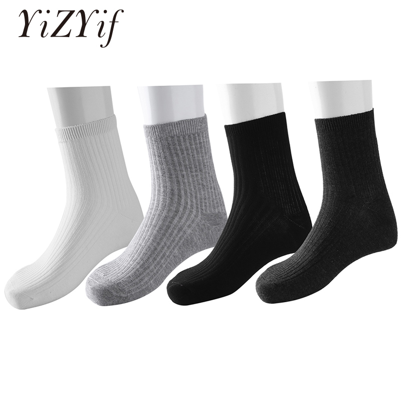 4 Pairs Men Socks Winter Stocking Solid Color Striped Breathable Over-the-Calf Formal Dress Business Casual Crew winter socks