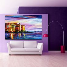 European Cities Architecture Art 100% Hand-painted Canvas Oil Painting Colorful Palette Knife Wall Art Picture Home Office Decor