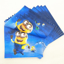 20pc/bag cute cartoon minions party supplies paper napkin Birthday Party Decoration baby shower for girls boys