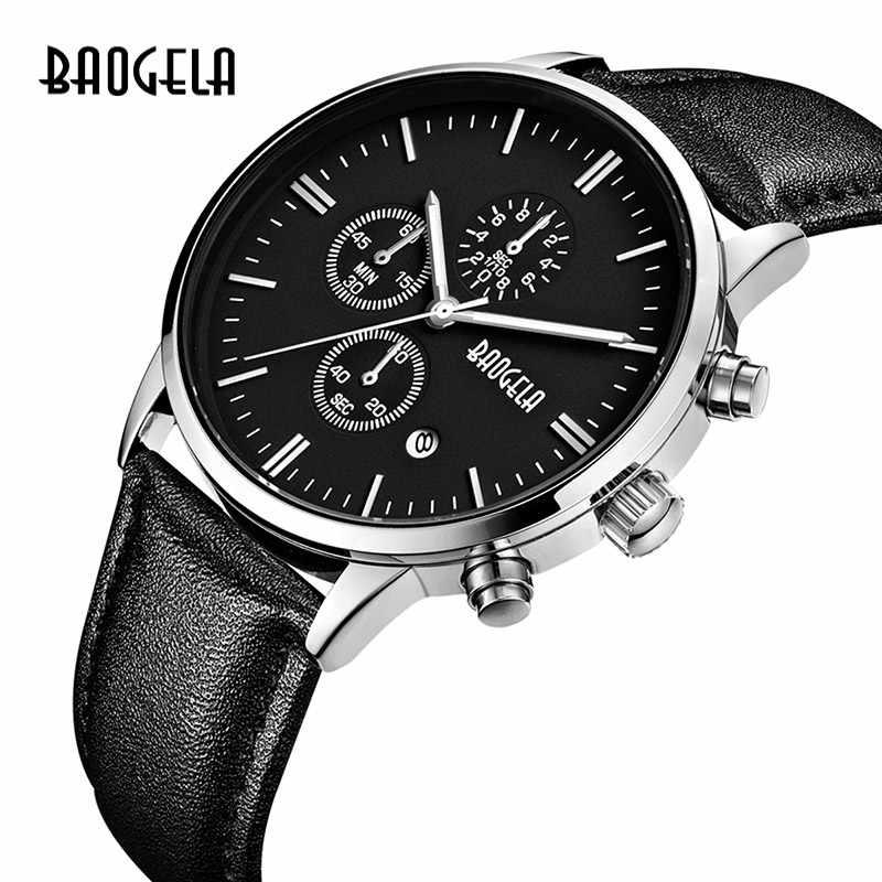 BAOGELA Herren Uhr Top-marke Luxus Quarz Handgelenk Uhren Runden Zifferblatt Lederband Chronograph Armbanduhr Für Mann 1706