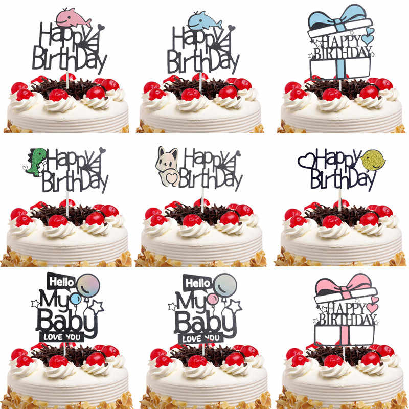 09f1ab3a41cd4 Cake Toppers Flags Gillter Cake Topper Dinosaur whale Kids Happy Birthday  Wedding Baby Shower Party Cake
