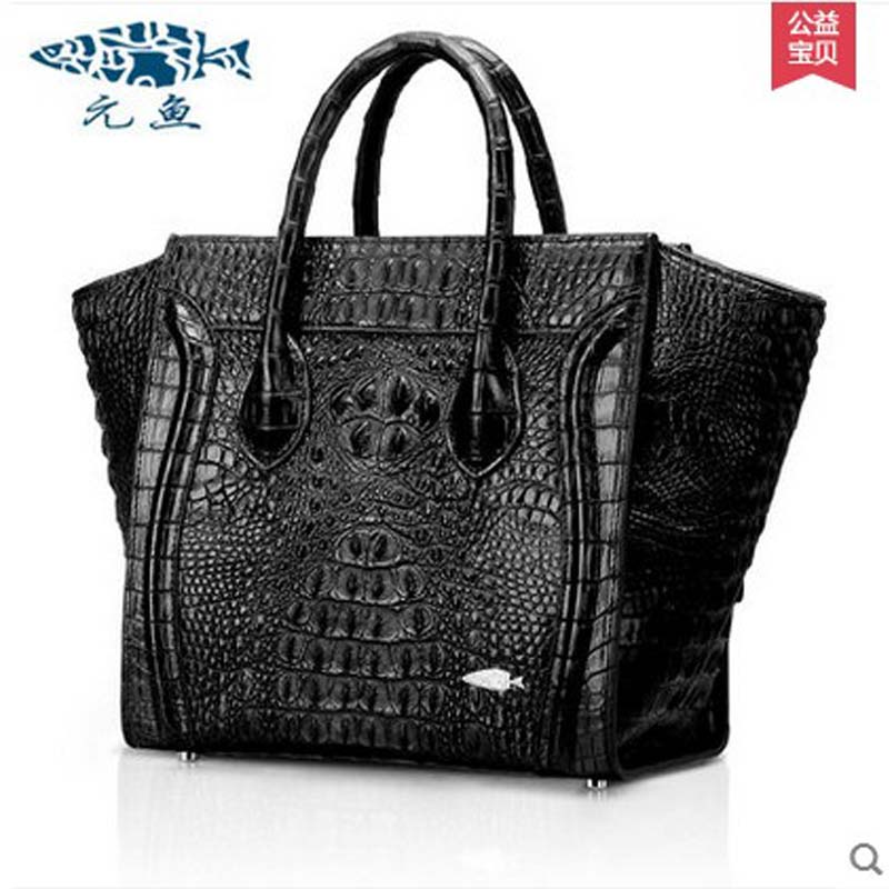 yuanyu 2018 new hot free shipping Crocodile skin women handbag women big bag crocodile grain leather handbag smiling face bag yuanyu 2018 new hot free shipping crocodile women handbag wrist bag big vintga high end single shoulder bags luxury women bag