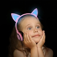 1Pc Foldable Flashing Glowing Cat Ear Headphones Gaming Music Headset Earphone With LED Light For PC