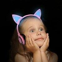 1 Pc Składany Miga Świecące Kot Ucho Słuchawki Muzyki Słuchawki Do Gier słuchawki Z LED Light Dla PC Laptop Telefon komórkowy MP3 MP4