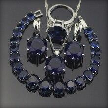 Blue Sapphire Topaz 925 Plata de La Joyería Sliver Pulseras/Pendientes/Colgantes/Collar/Anillos Para Las Mujeres Caja de Regalo libre