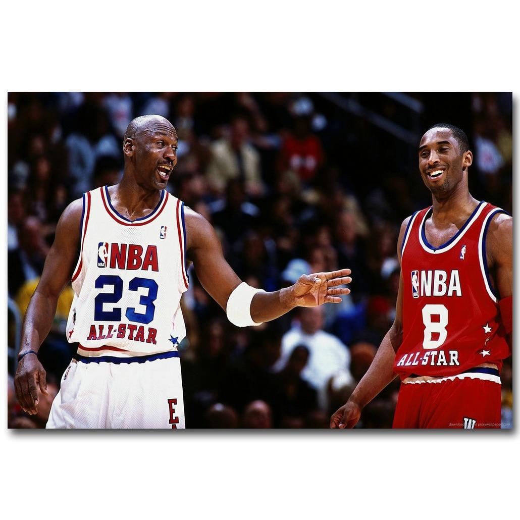 Michael Jordan Vs Kobe Bryant Basketball Art Silk Fabric