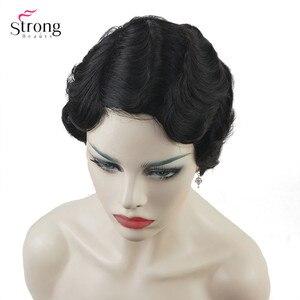 Image 4 - Şarap kırmızı/Siyah Afrika Kısa Parmak Dalga Saç İnsan saçı peruk Sineklik Saç Peruk Siyah Kadınlar Için