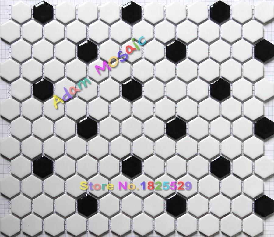 Buy hexagon tiles black white mosaic for Carrelage hexagonal noir