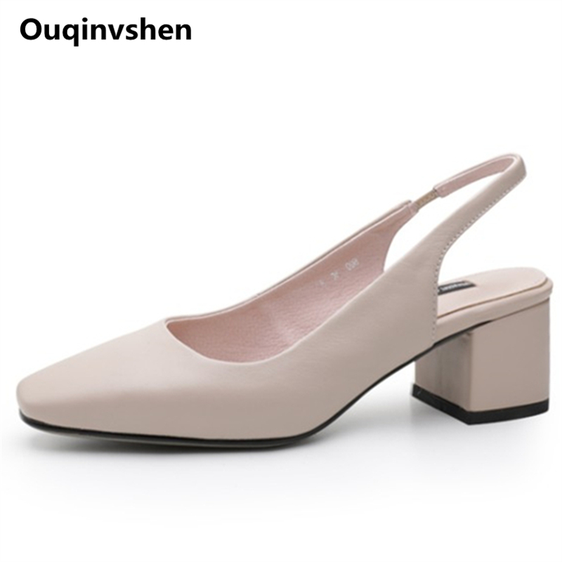 Ouqinvshen Concise Square Toe Women Sandals 2018 Off White Fashion Casual Shoes Woman High Heel Genuine