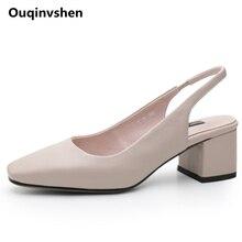 Ouqinvshen Concise Karree Frauen Sandalen 2018 Off White Mode Freizeitschuhe Frau High Heel Echtem Leder Sommer Sandalen
