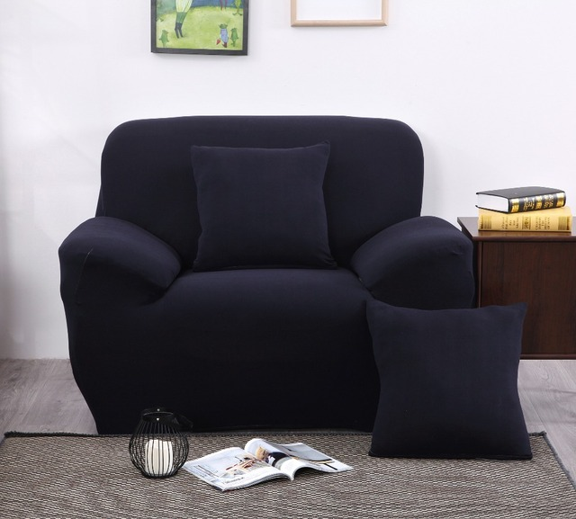 2017 New Navy Blue 100% Polyester Spandex Fabric Stretch Sofa Cover Furniture  Protector Solid Colors
