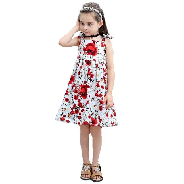 cc2c4c59fad15 Floral coton bébé fille robes été 2018 Bowknot Straped princesse fille robe  mode enfants vêtements pour